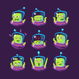 Alien In Ufo Emoji Set. Of Simplified Cartoon Character Stickers  On Dark Background Royalty Free Stock Photo