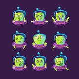 Alien In Ufo Emoticon Set Stock Images