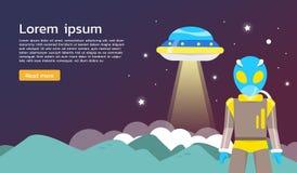 Alien with ufo exploring around planet Infographics Flat design. Stock Photo