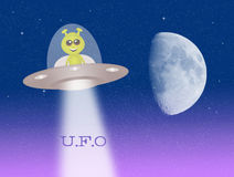 Alien in the ufo Royalty Free Stock Photo