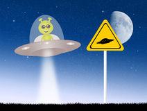 Alien in the ufo Royalty Free Stock Images