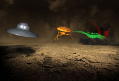 Alien UFO Martians Attack Earth. The Martians are attacking the planet earth! Is the world safe from danger from this outer space visitor? The alien Martian Stock Illustration