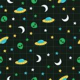 Alien, ufo, moon, star outer space pattern stock illustration