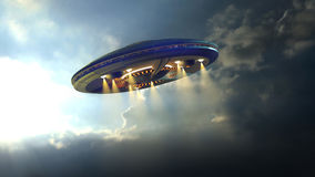 Alien UFO near Earth. Alien UFO saucer flying on a clouds background above Earth