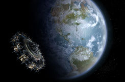 Alien UFO Nearing Earth Royalty Free Stock Images