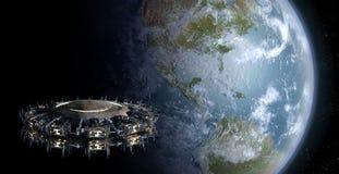 Alien UFO Nearing Earth Royalty Free Stock Photo