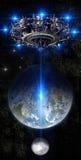 Alien UFO nearing Earth Stock Image