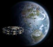 Alien UFO nearing Earth Royalty Free Stock Image