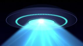 Alien UFO saucer flying and scanning on Earth. 4K loop animation royalty free illustration