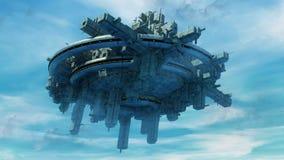 Alien UFO ship. And blue sky Stock Photo