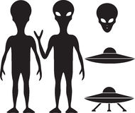 Alien and UFO. Silhouette set Stock Images