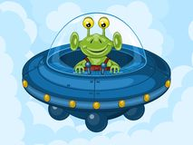 Alien and UFO. Smiling alien drives his UFO machine. Funny cartoon character vector illustration