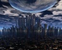 Alien UFO Space Ship Above City Royalty Free Stock Photos