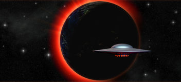 Alien ufo spacecraft. An ufo spacecraft with a planet in background in 3d Stock Photo