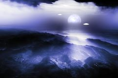 Flying saucers over the valley at night vector illustration