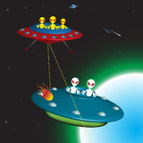 Alien versus alien. Colorful illustration with two enemy alien spaceships chasing each other in space Stock Photos