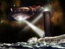 Alien visit. A UFO above a lighthouse, as it was answering to the light signs. The lighthouse worker went out of the tower and is observed by the visitors Stock Images