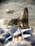 Alien visit. Big strange alien spaceship appearing aver the clouds, approached by several F15 fighters royalty free illustration