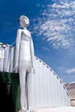 Alien Visitor. A huge metallic creature from outer space standing along the Extraterrestrial Highway near Area 51 in desolate Nevada royalty free stock photography