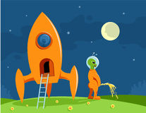 Alien visitor Stock Illustration