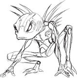 Alien Warrior Sketch Royalty Free Stock Images