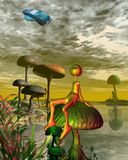 Alien watching an aircar in the sky. 3d Digitally rendered illustration of a little gold alien creature sitting on a toadstool and watching an aircar fly above vector illustration