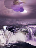 Alien waterfall and spaceship Royalty Free Stock Photo