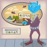 Alien welcome cartoon illustration Stock Photos