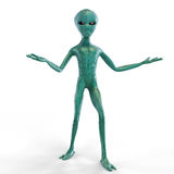 Alien on the white background. Alien spread his hands on the white background Stock Images