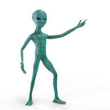 Alien on the white background. Alien shows his hand on the white background Stock Image