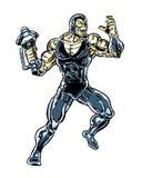 Alien wielding a hammer comic book character Stock Photo