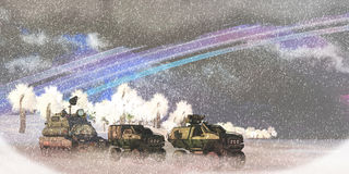 Alien Winter Storm. A military convoy crosses a frozen lake on an alien planet in a severe winter storm Stock Image