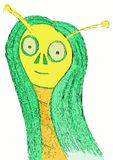 Isolated smiling alien woman cartoon. Theres life in the space. This funny illustration represents an alien. Looking at the hair, we can say that this alien is a Royalty Free Stock Image