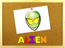 Alien word on a corkboard Royalty Free Stock Images