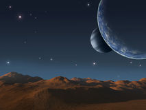 Alien world. Alien world with two moons Stock Photography