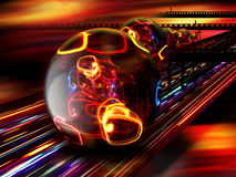 Alien world abstract. Futuristic spheres with internal lights on a blurred light roadway. Contept for a different alien world royalty free stock images