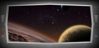 Alien world as seen from a spaceship window Stock Photo