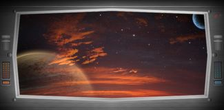 Alien world as seen from a spaceship window Royalty Free Stock Images