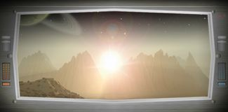 Alien world as seen from a spaceship window vector illustration
