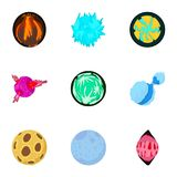 Alien world icons set, cartoon style. Alien world icons set. Cartoon set of 9 alien world vector icons for web isolated on white background Royalty Free Stock Photography