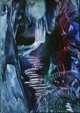 Alien World, Mystic Forest. Alien world with purple, red blue plants in a forest an original Encaustic art painting from FT Swan royalty free illustration