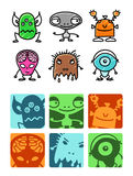 Aliens. Hand drawn colored cartoon icons Vector Illustration