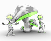 Aliens. Quality 3d illustration of funky metal mushrooms and silly little aliens Royalty Free Stock Image