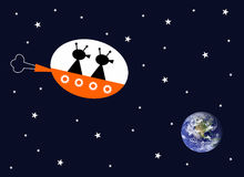 Aliens. Making their way to planet earth in their space ship Stock Illustration