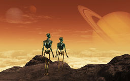 Aliens. This image shows two aliens of a unknown planet royalty free illustration