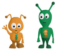 Aliens. Set of . One is waving, the other is staring into space Royalty Free Stock Images