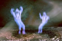 Aliens in the alien planet. Two deed aliens in the alien planet in outer space. Elements of this image furnisfurnished by NASA royalty free stock photos