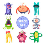 Aliens and astronaut, space world. Vector flat illustrations Stock Photos