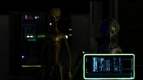 Aliens and Astronomers in the command room are watching the mission in space royalty free illustration