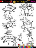 Aliens Cartoon Set for coloring book Royalty Free Stock Photography
